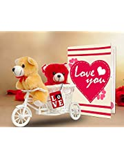 TIED RIBBONS Valentine Day Gift for Husband Wife Girlfriend Boyfriend Girls Boys - Valentines Special Gift Combo (2 Teddy, Love Tri Cycle, Key Chain, Greeting Card)
