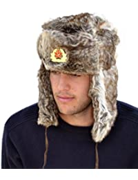 The Hat Company Russian style faux fur trapper hat with badge A790