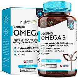 Omega 3 (2000 mg) - 660 mg de EPA y 440 mg de DHA - Cápsulas de gel suave de aceite de pescado puro - Hecho en el Reino Unido por Nutravita