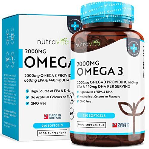 Hochdosiertes Omega-3 (2000 mg) | 660 mg EPA & 440 mg DHA | Pure Fisch Öl Kapseln | Hergestellt in Großbritannien von Nutravita
