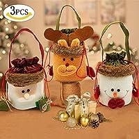 SPECOOL 3 Bolsas de Dulces, Bolsas de Caramelo, diseño de Papá Noel y muñeco de Nieve, Bonitas Bolsas de Regalo para los niños y los Amantes de la Boda, Fiesta, Vacaciones, Año, Vacaciones.