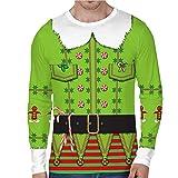 FN007 Herren Herbst und Winter Digitaldruck Weihnachten Rundhalsausschnitt langärmeliges T-Shirt 3D Weihnachtsdruck langärmliger O-Ausschnitt Sporthemd Punkt dreidimensionales Hemd (Grün, M)