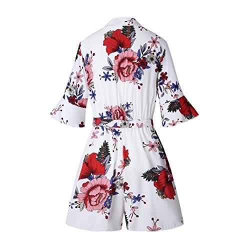 Ouneed® Femme Felur Combishort Jumpsuit Kimono Slim Blanc