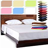 NEW LUXURY PLAIN DYED POLYCOTTON FITTED FLAT BED SHEET SINGLE DOUBLE KING SIZE BEDDING (White, Pair Of Pillowcases)
