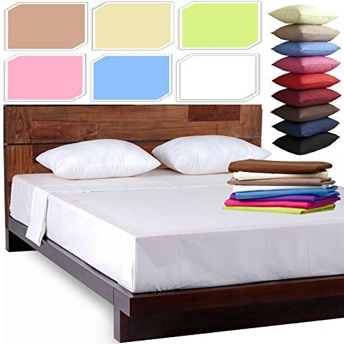 NEW LUXURY PLAIN DYED POLYCOTTON FITTED FLAT BED SHEET SINGLE DOUBLE KING SIZE BEDDING (Mocha, King Size Fitted Bed Sheet)