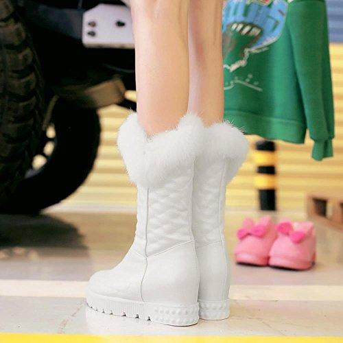 COOLCEPT Damen Fashion Mid Heel Warm Gefüttert Kunstfell Boots Schnee Stiefel Weiß
