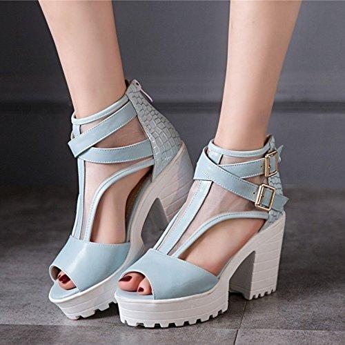 COOLCEPT Femme Mode Sangle De Cheville Sandales Peep Toe Chaussures Bloc Avec Fermeture Eclair Bleu