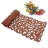 ZJChao - Centrino da tavolo, motivo: fiori traforati, ideale per l'arredamento della stanza, lavabile, 100x 30cm marrone