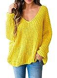 Pxmoda Damen Oversized Pullover Off Schulter V-Ausschnitt Langarm-beiläufige Strick Tunika Pullover Pullover Tops (Gelb, X-Large)