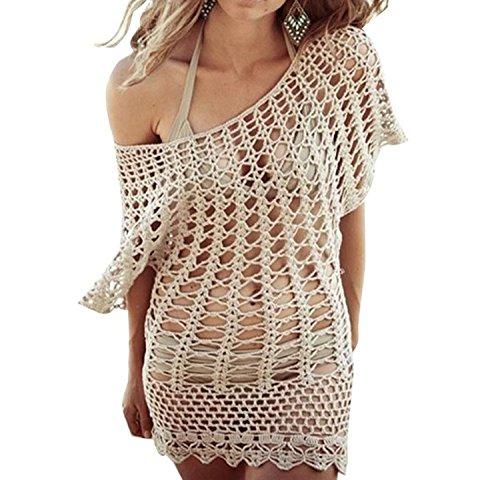 GenialES Sarong Crochet Bikini Cover Up Robe de Plage Maillot de Bain Beige Taille Unique Beige