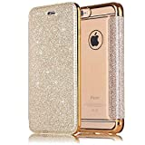 "Sycode Flip Custodia per iPhone 6S 4.7"", Oro a Libro Back con Fronte in PU Pelle Bling Portafoglio Flip Cover per iPhone 6S 4.7""/6 4.7""-Oro"