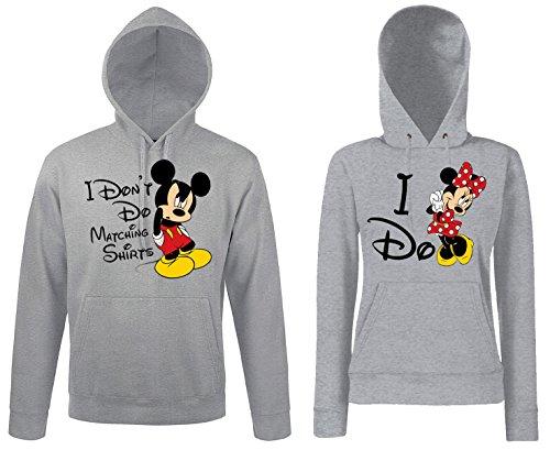 TRVPPY Partner Herren + Damen Hoodies Mickey & Minnie MR MRS, Herren XL, Damen S, Grau