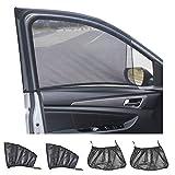 CONRAL 4er Pack Anti-Mosquito Auto Sonnenschutz, Autofenster Schatten Mesh Atmungsaktive Vorhang Auto Seitenfenster Sonnenschutz UV-Schutz Erlaubt das Öffnen und Schließen meisten Limousinen
