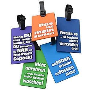 5 Stück Kofferanhänger Gepäckanhänger Kofferschild Witzige Deutsche Sprüche