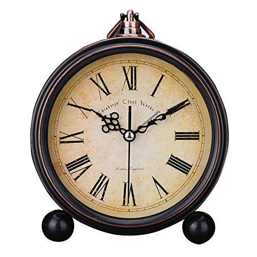 Czos88 Reloj Despertador Silencioso Lente Cristal Vintage Moderno Estampado Flores Estilo Europeo Números...