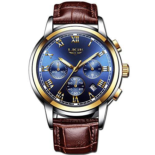 sserdicht Chronograph Sport Analog Quarzuhr Mann Datum Mode Business Uhr Hohe Qualität Braun Leder Uhren ()