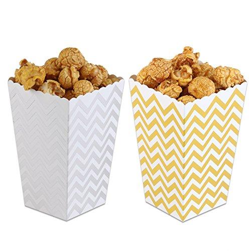 Toyvian 50 stücke Popcorn Boxen Gelb Trio Miniatur Scalloped Edge Karton Party Candy Container Treat Cartons Scalloped-edge-box