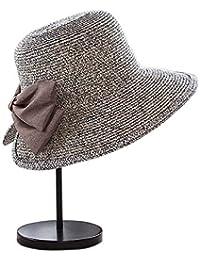 ZUMUii Butterme Mujeres Elegante Sombrero de Paja Sombrero de Sol con Big  Bowknot 93ff1fc7730