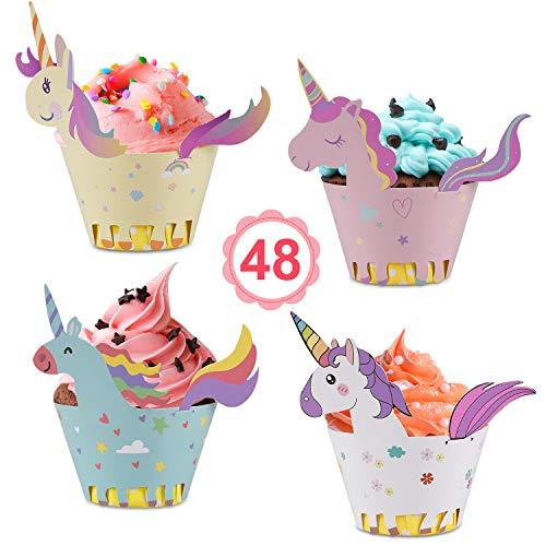 ke Wrappers Papier 48 Stücke süße Unicorn Muffins Dessert Dekoration Verpackung für Kinder Geburtstag Party, Hochzeit Kuchen Deko ()