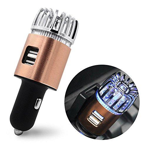 Unbekannt 2-In-1-Ionen-Auto Luftreiniger und Geruchsbeseitiger mit Dual-Interface mit Nachtlicht 2.1 A USB-Anschluss,Brass