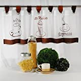 Moderne Kaffee - Gardine  COFFEE - TIME  mit Schlaufen, Kurzstore, weißes Voile mit drei typischen Kaffee-Motiven bestickt - (ca H/B 40 x 120 cm) - Neu - auch eine schöne Geschenkidee - Bistrogardine Scheibengardine
