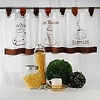 """Moderne Kaffee - Gardine """" COFFEE - TIME """" mit Schlaufen, Kurzstore, weißes Voile mit drei typischen Kaffee-Motiven bestickt - (ca H/B 40 x 120 cm) - Neu - auch eine schöne Geschenkidee - Bistrogardine Scheibengardine"""