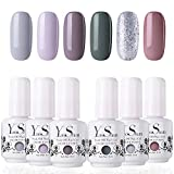 Vernis Gel Semi Permanent - Y&S UV LED Vernis à Ongles Gel Soak Off Manucure Nail Art Kit 6 Couleurs X 8ml, Nouveauté Lot Nude Gris