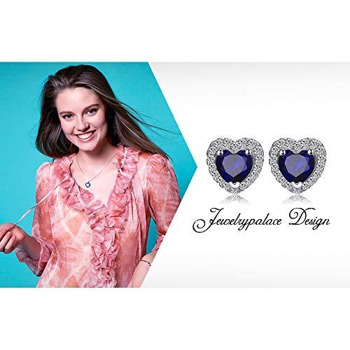 JewelryPalace Runde Herz Des Ozeans 1.2ct Synthetisch Blau Saphir Ohrstecker 925 Sterling Silber ohrring stecker - 6
