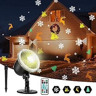 Zeonetak-LED-Lichtprojektor-Weihnachten-Innen-Aussen-IP65-Wasserdicht-Projektor-Lampe-fr-Yard-und-WohnzimmerSchneeflocke-Kleine-Glocke-Elch-und-Weihnachtsbaum