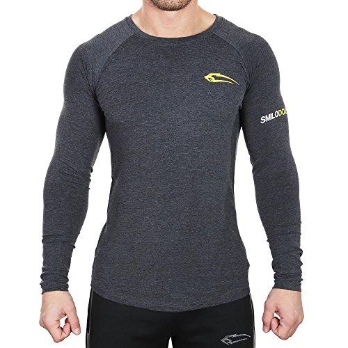 SMILODOX Slim Fit Longsleeve Herren 2.0   Funktionsshirt für Sport Fitness Gym & Training   Langarmshirt - Langarm Trainingsshirt   Sportshirt mit Aufdruck, Farbe:Anthrazit, Größe:S