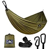 NatureFun Ultra-Light Travel Camping Hammock | 300kg Load Capacity,(300 x 140 cm) Breathable,Quick-drying Parachute Nylon | 2 x Premium Carabiners,2 x Nylon Slings Included | For Outdoor Indoor Garten | 100% Money-back Warranty