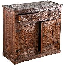 Kommode Sideboard Mit 2 Schubladen Orientalisch Holz Schrank Wohnzimmer Basim