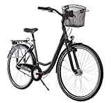 Teutoburg Herford Citybike Fahrrad 28 Zoll (Alu City Wave Rahmen, 7 Gang Shimano Nabenschaltung, V Bremse, Rücktritt, Federgabel) anthrazit