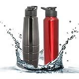Zafos Stainless Steel Sipper Water Bottle (Black)