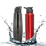#5: Zafos Stainless Steel Sipper Water Bottle - Ideal to store water & other beverages for Gym, Sports & School, Better Than Milton, Sizzle & Cello 1000ml, ,Black ,2pc.
