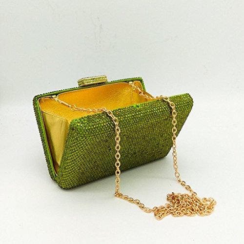 FZHLY Heiße Bohrung Abend-Beutel-Normallack-Damen-Hand Die Bankett-Paket Hält Green