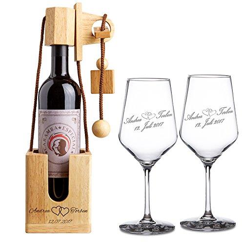 Geschenkset zur Hochzeit – Weißweingläser und Flaschenpuzzle Hell mit Gravur – Motiv Herzen...