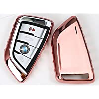 Electroplated TPU Smart key Fob Cover Skin Case for BMW Blade Durable Anti Shock Scratch-Resistant Car Vehicle Chrome Metalic Mirror Effect Bumper protector protection Shine Decorotive Decoration