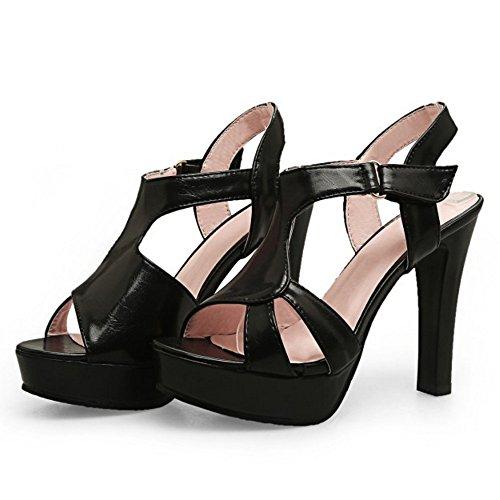 TAOFFEN Femmes Talons Hauts Sandales Soiree Elegant Plateforme Talons Hauts Bout Ouvert Ete Chaussures Noir