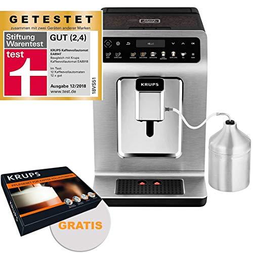 Krups Premium Kaffeevollautomat 15 bar, 1450W + Gratis ZES600 Pflegeset Zubehör, Milchschaum-System, automatische Reinigung, Edelstahl, OLED Touch Display, Direktwahltasten, Espresso Kaffee Maschine
