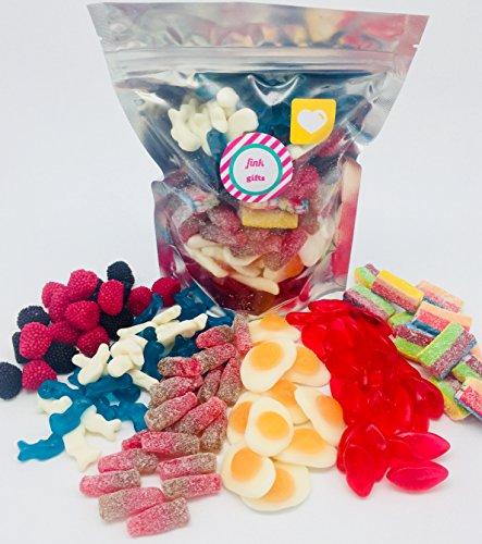 Der Gummy One | Cola Bottles & Fizzy Sweets Geschenktüte | Candy Hamper Süßigkeiten Auswahl Box Bundle Bag | Britische Sammlung | Fink Geschenke | ENTHÄLT: Juicy Lips | Fried Eggs | Cherry Cola Bottles | Dolphins | Berries | Multicoloured Bricks