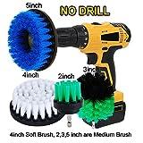 Oxoxo 5,1cm 7,6cm 10,2cm 12,7cm drill Brush–Medium Soft attaccamento scrub kit di pulizia per vetro moquette pavimenti, piastrelle bagno docce