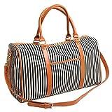 BAOSHA HB-25 Canvas Holdalls Frauen Damen Segeltuch Reisetaschen Handgepäck Weekender Tasche Travel Duffels mit Gestreift und PU Leder Dekoration (Schwarz Streifen)
