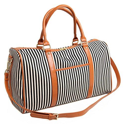BAOSHA HB-25 Canvas Holdalls Frauen Damen Segeltuch Reisetaschen Handgepäck Weekender Tasche Travel Duffels mit Gestreift und PU Leder Dekoration (Blau Streifen) Schwarz Streifen