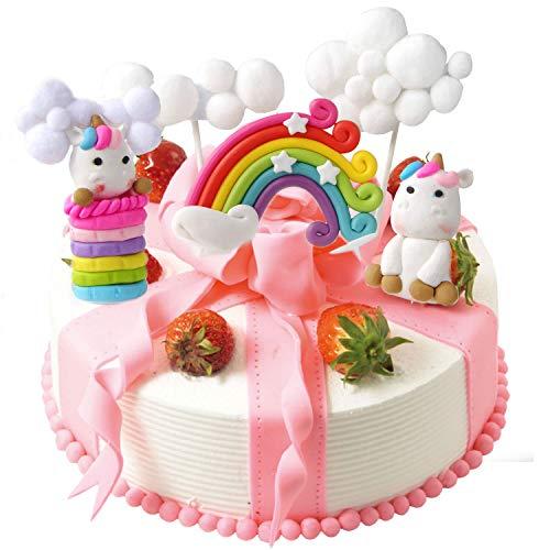 LAOZHOU Wolke Regenbogen mit Einhorn Cake Toppers Kit Kuchen Dekoration Kinder Mädchen Geburtstag Baby Shower Hochzeit Backen Dekoration Lieferungen (5er Set) (Kuchen Toppers Kinder)