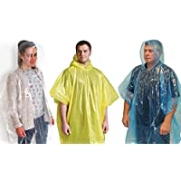 AMAZING VALUE 9 x Assorted Unisex Adult Emergency Waterproof Reusable Rain Ponchos With Hoods - Perfect For Festivals, Camping & Theme Parks