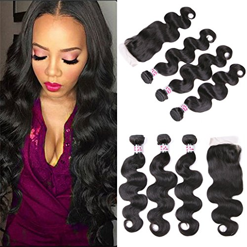 silkylong Grade 8a peruvian hair 3 bundles of body wave closure for weave Natural clor can be dye 12 14 16 +10