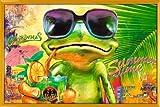 Poster mit Rahmen 61 x 91,5 cm, Gelb - Cooler Frosch mit Sonnenbrille gerahmt - Antireflex Acrylglas