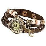 Taffstyle Damen-Armbanduhr Retro Vintage Geflochten Leder-Armband mit Charms Anhänger Analog Quarz Uhr Libelle Gold Braun