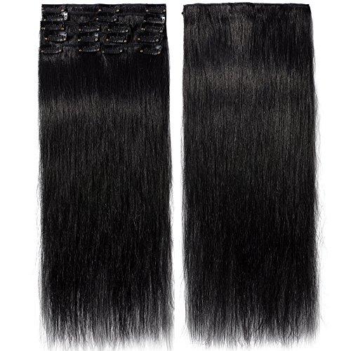 Extension capelli veri clip 8 fasce remy human hair extensions clip lisci lunga 18 pollici 45cm pesa 70grammi, #1 jet nero